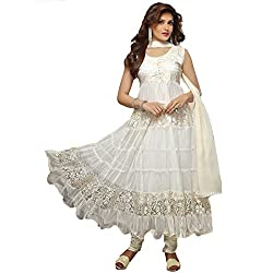 Rozdeal Women Brasso Salwar Suit Dress Material (Rdhp106-1448 _White _Free Size)