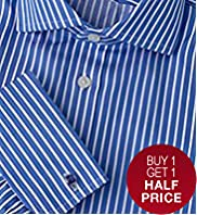 "2"" Shorter Luxury Sartorial Pure Cotton Striped Shirt"