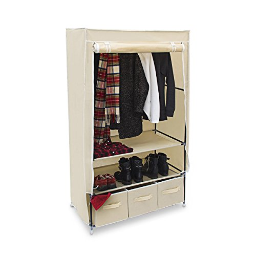 Relaxdays-Faltschrank-VALENTIN-L-H-x-B-x-T-162-x-88-x-48-cm-Stoffschrank-mit-3-Schubladen-und-2-Ablagen-Textilschrank-zum-staubsicheren-Aufbewahren-Kleiderschrank-aus-Vlies-Gewebe-zum-Falten-beige