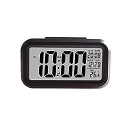 AutumnFall® Smart Simple Silent LED Alarm Clock Date Display Repeating Snooze Sensor Night Light (Black-2)