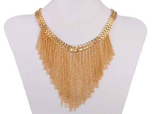 Golden Tone Chain Link Drop Tassels V-Shaped Fashion Statement Bib Necklace