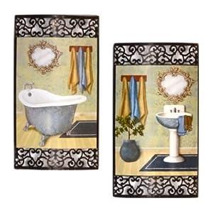 Set of 2 bath time metal wall art decor for Bathroom paintings amazon