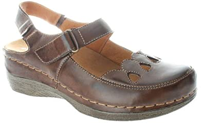 Spring Step HOPE-DBR Ladies Hope Closed Toe Sandal Dark Brown - European Size 36