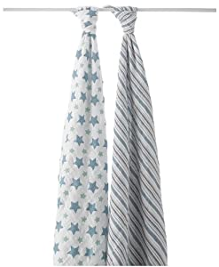 aden + anais Classic Muslin Swaddle Blanket 2 Pack, Prince Charming