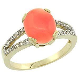 14K Yellow Gold Diamond Halo Natural Coral Ring Oval 10x8mm, size 7.5