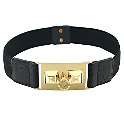 BlingKicks women's stretch pyramid stud ring color belt Black One Size