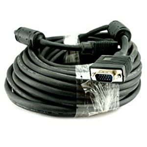 Importer520 50 FT SVGA HD15 SUPER VGA Male to Male M/M MONITOR/LCD/PROJECTOR CABLE Great for hooking up projectors and computer flat panel display monitors to portable or desktop computers for netflix viewing- HDTV - Plasma Televisions - LCD LED TV With Ferrites
