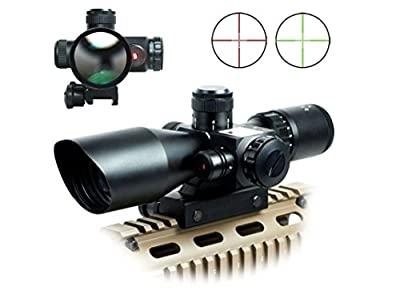Rifle Scope Red Dot Tactical 2.5-10x40 Red Laser Dual Illuminated Mil-dot w/ Rail Mount from Inlook