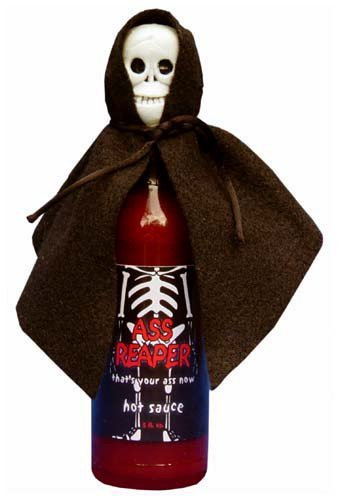 Ass Reaper Hot Sauce With Skull And Cape -