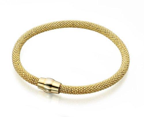 Elements Sterling Silver, Ladies, B4171, Gold Plate Popcorn Bracelet of Length 19cm