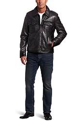 Tommy Hilfiger Men's Lambskin Leather 2 Pocket Moto Jacket