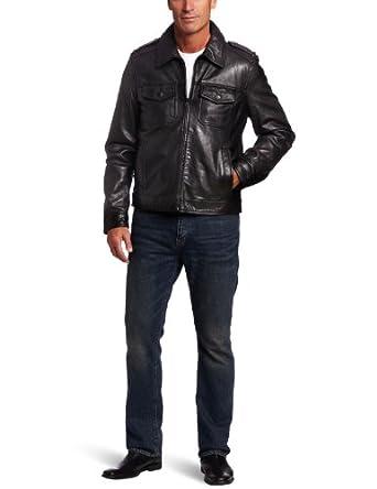 【汤米顶级皮衣】Tommy Hilfiger Men's Lamb 2 Pocket顶级羔羊皮夹克黑$171.23