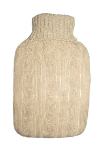 Warm Tradition Cream Cable Knit Covered Hot Water Bottle - Bottle Made In Germany