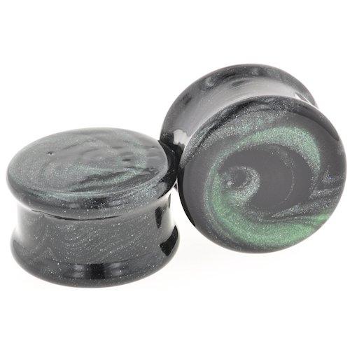 Pair of Glass Double Flared Black / Sparkle Green Borostone Plugs: 1-9/16