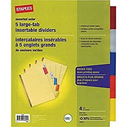 Insertable Big 5-Tab Dividers with Buff Paper, 8.5\