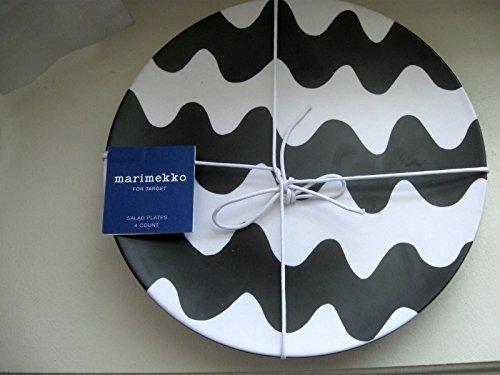 nwt-set-4-marimekko-for-target-salad-plates-black-white-print