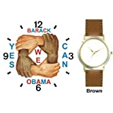 Black & White Hands and Forearms Interlocking - Yes We Can No.2 - President Barack Obama Commemorative - WATCHBUDDY DELUXE TWO-TONE THEME WATCH - Arabic Numbers - Brown Leather Strap-Size-Large ( Men's Size or Jumbo Women's Size )