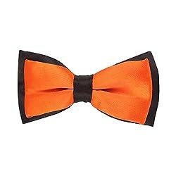 His Honour Black and Orange Bow Tie