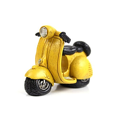 Creative Gifts Resinous Small Ornaments Vintage Scooters Model(Yellow 7cm)