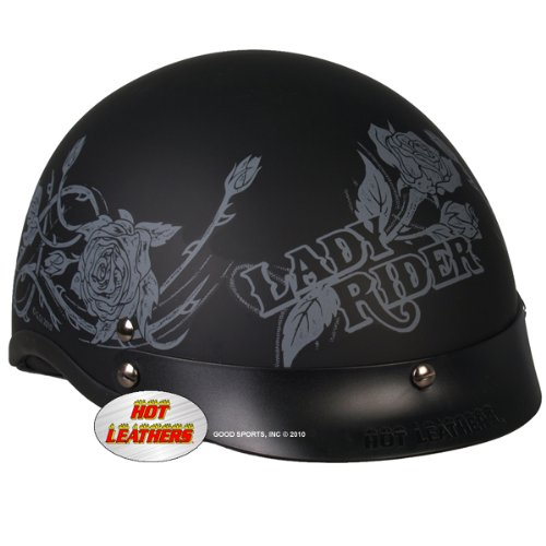 Hot Leathers DOT Approved Grey Roses Helmet (Black, Large)