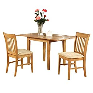 East west furniture nofk3 oak c 3 piece for Dining room tables on amazon