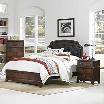 Homelegance Carrie Ann 3 Piece Platform Bedroom Set w/ Dark Brown Bi-Cast Vinyl Headboard in Warm Cherry