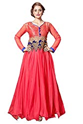 Parinaaz Light Red soft net fabric Unsticht Dressmaterial