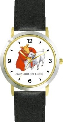 Mary Had A Little Lamb No.2 - From Mother Goose By Artist: Sylvia Long - Watchbuddy® Deluxe Two-Tone Theme Watch - Arabic Numbers - Black Leather Strap-Size-Children'S Size-Small ( Boy'S Size & Girl'S Size ) front-777381