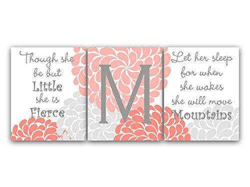 Unframed Prints (Choose Your Sizes) - Set Of 3 Coral & Grey Flower Burst Art With Monogram - Kids113