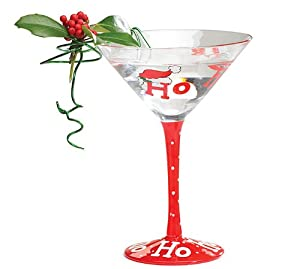 Set of 4 hand blown christmas holiday martini for Christmas in a glass cocktail