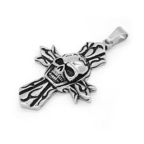 iconic fiamma in acciaio inox collana pendente croce testa punk del cranio degli uomini d'epoca -con Catena 23 pollici