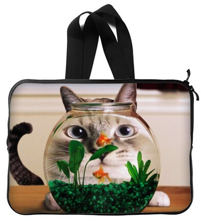 High Quality FUNNY HUMOR Cat looking at a goldfish bowl Handle Water Resistant Neoprene Laptop Sleeve 15 Inch Notebook Computer Bag Case Cover(Twin Sides)