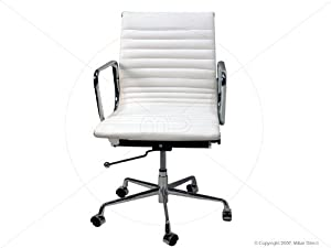 Modern Style White Leather Office Chair W Wheels Amazon