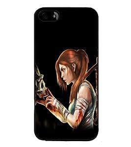 printtech Warrior Girl Skull Game Back Case Cover for Apple iPhone 5