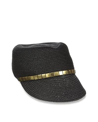 Giovannio Women's Paper Braid Dent Crown Cap, Black