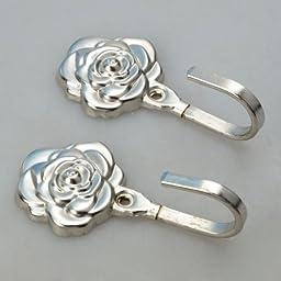 Usongs 2 Pcs Luxury Rose Flower Shape Metal Curtain Hook Wall Decorative Hookback Tieback Silver Color