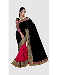 Top & Best Ladies Party Wear Black Pink Chiffon Saree For Women & Girls