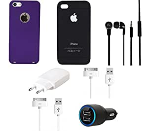 NIROSHA Cover Case Charger Headphone USB Cable for Apple iPhone 6 - Combo