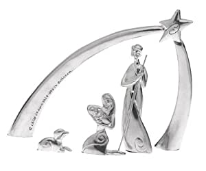 Serenity Holy Family Nativity with Arch, Set of 5, Pewter