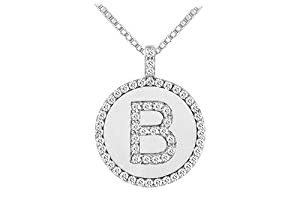 Diamond Initial B Disc Pendant 14K White Gold - 0.60 CT TGW