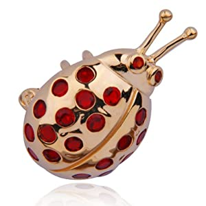 18k Gold Plated Sterling Silver Red Glass Ladybug Charm