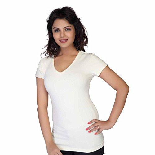 Clifton Women's Plain V-Neck T-Shirt - Off-White - Small