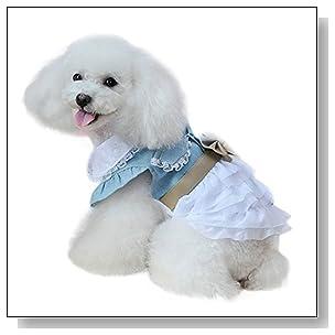 Hikwi Fairy Denim Dog Dress for Dog Clothes Charming Cozy Dog Shirt Pet Dress (XL)