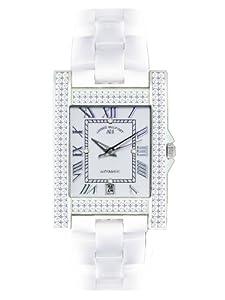 André Belfort 410119 - Reloj analógico de mujer automático con correa de cerámica blanca - sumergible a 50 metros