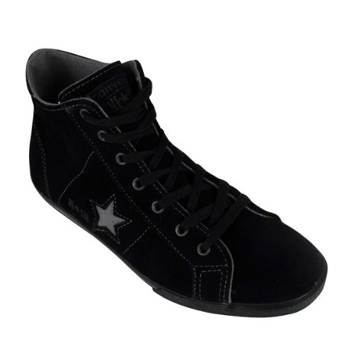 Womens Converse One Star Black Shoes Leather OS Lo Pro Mid Trainer Trainers 3-6