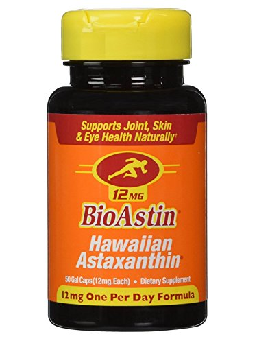 Nutrex Hawaii BioAstin Hawaiian Astaxanthin, 50 Gel Caps supply, 12mg Astaxanthin per Serving (One per Day Formula) Supports Skin, Eye and Cardiovascular Health