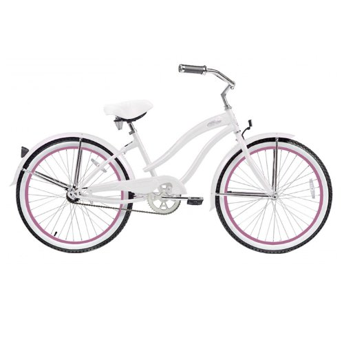 Micargi Rover Beach Cruiser Bike, White, 24-Inch