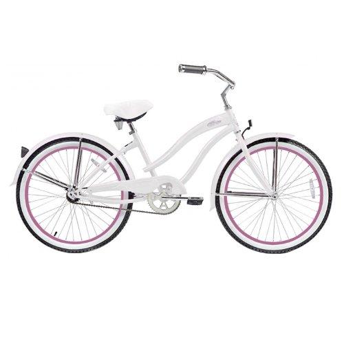 Micargi Rover Beach Cruiser Bike, White, 24-Inch