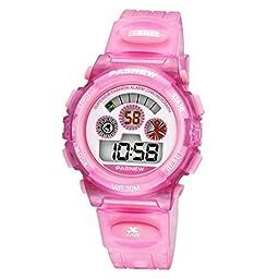Pasnew LED Digital Waterproof Outside Sports Watch for Children Girls Boys -Pink