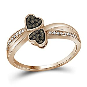 10kt Rose Gold Womens Round Cognac-Brown Colored Diamond Heart Love Fashion Ring (.10 cttw.)